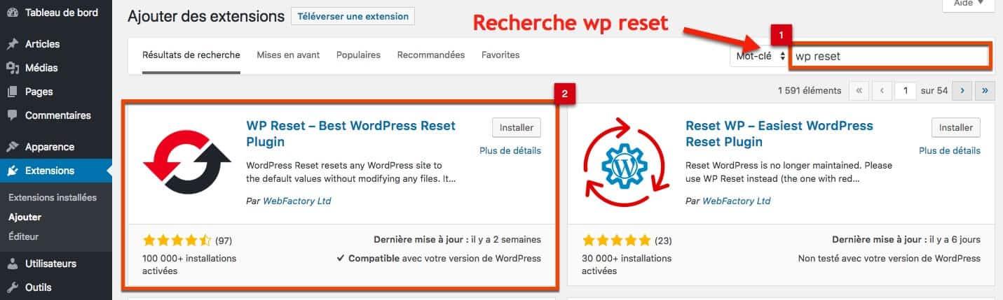Recherchez le plugin pour réinitialiser wordpress