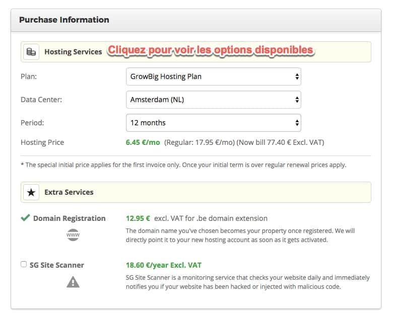 Changer d'options du compte Siteground