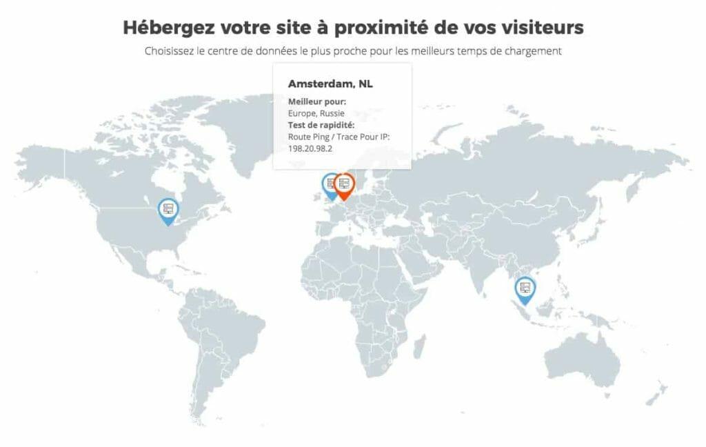 Datas centers dans 3 continents
