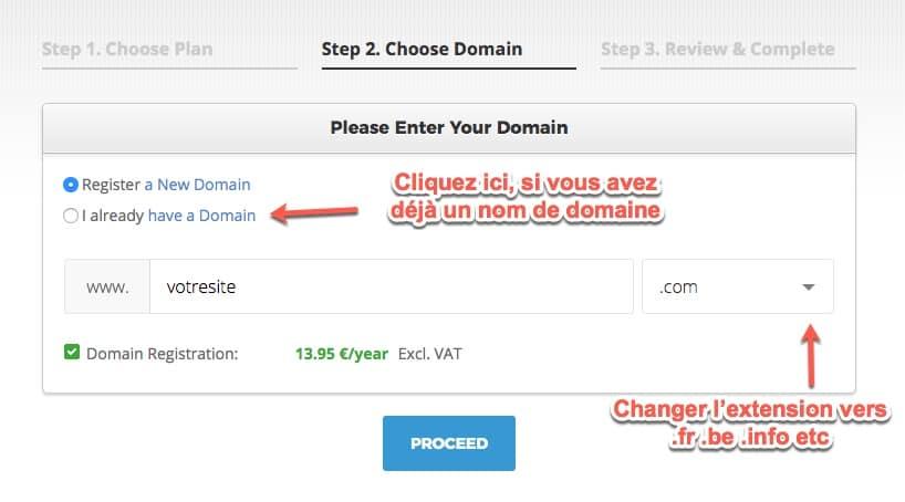 Enregistrer un nom de domaine avec Siteground
