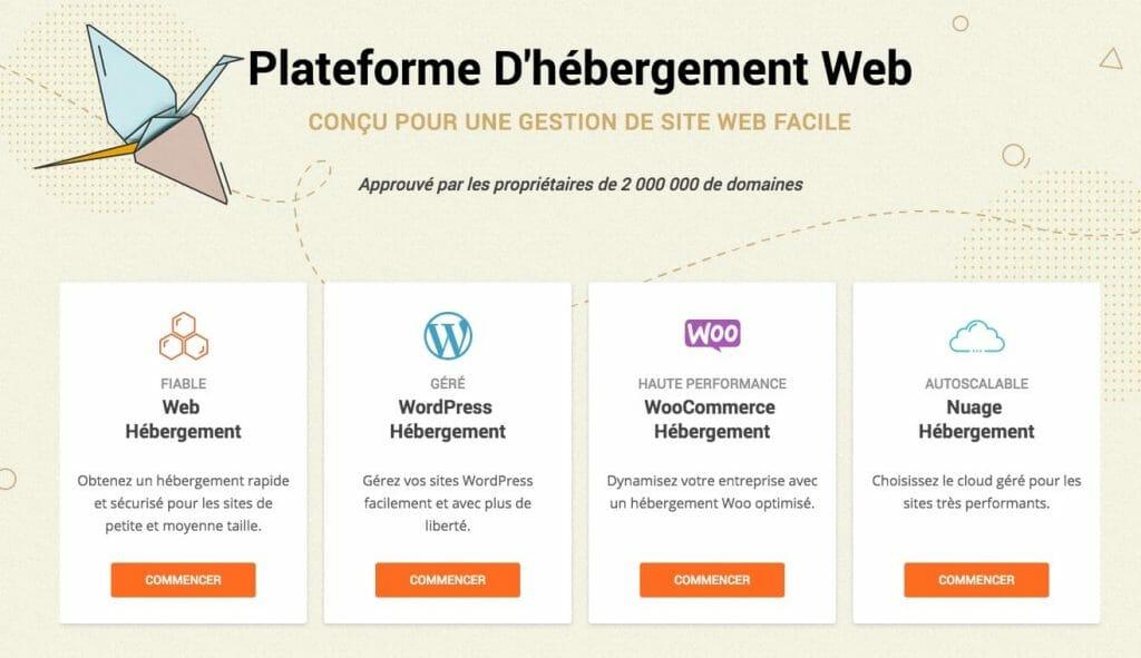 Page d'accueil de l'hebergement Siteground en français
