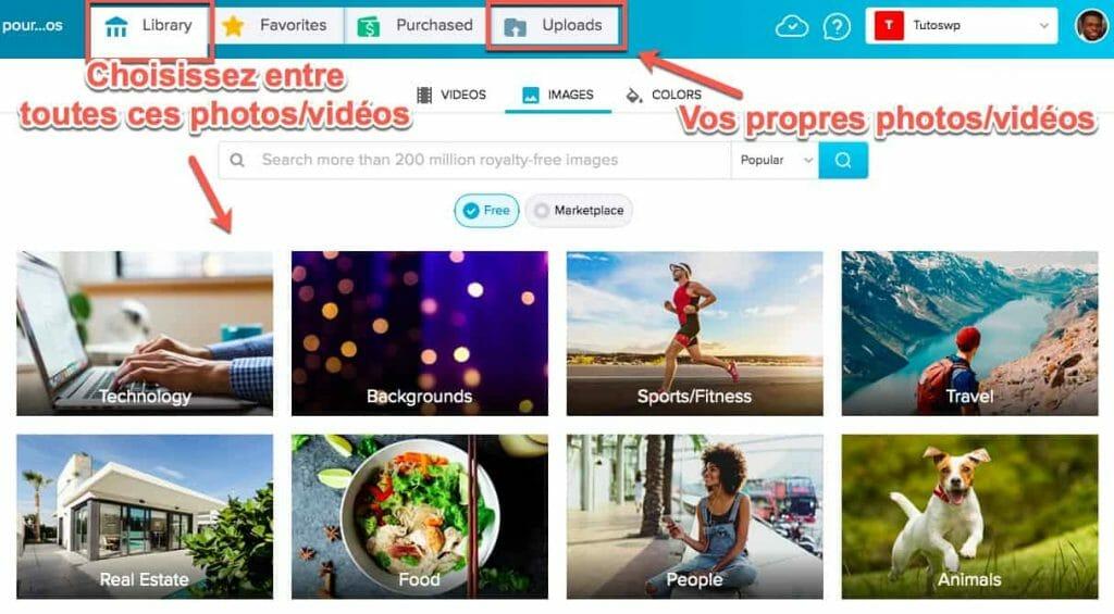librairie de photos et vidéos pour faire votre montage vidéo en ligne