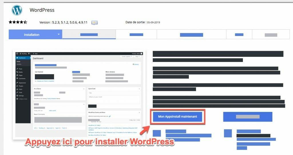 comment installer wordpress en un clic